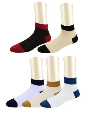 Носки, комплект - 5 пар Glamuriki. Цвет: сиреневый, бежевый, белый