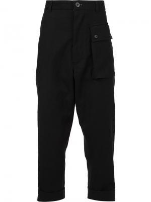 Укороченные брюки с накладными карманами Wooster + Lardini. Цвет: чёрный