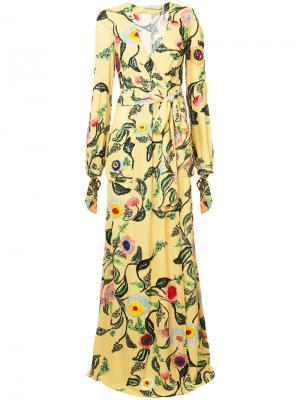 Вечернее платье с цветочным рисунком Patbo. Цвет: жёлтый и оранжевый
