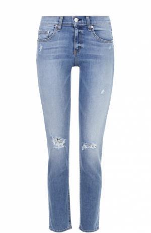 Укороченные джинсы с потертостями Rag&Bone. Цвет: голубой