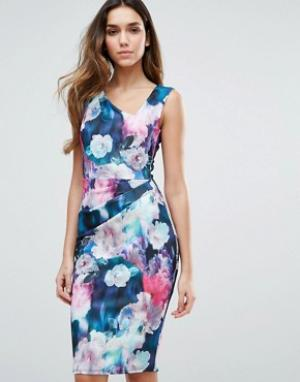 Jessica Wright Платье миди с цветочным принтом. Цвет: темно-синий