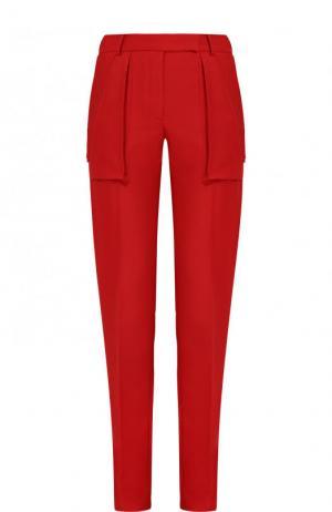 Однотонные брюки прямого кроя со стрелками Valentino. Цвет: красный