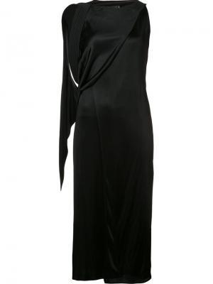 Платье с драпированной деталью Atlein. Цвет: чёрный