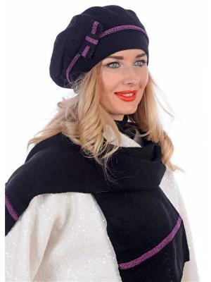 Комплект: шапка+шарф Сиринга. Цвет: черный, лиловый