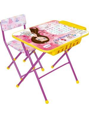 Комплект мебели (стол+бол. пенал+стул.мягк) Nika. Цвет: розовый