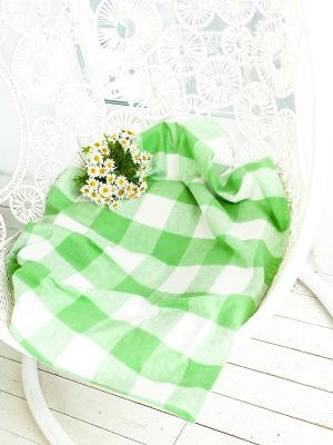 Плед ARLONI. Цвет: зеленый, белый