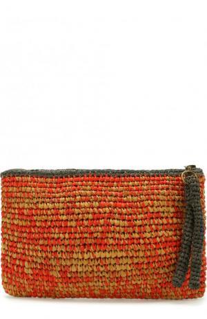 Клатч Masemoiselle из рафии Sans-Arcidet. Цвет: красный