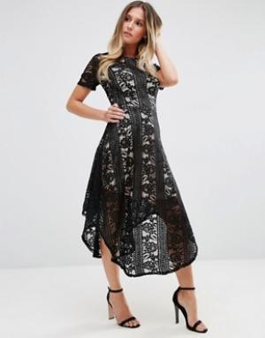 Jessica Wright Кружевное приталенное платье миди. Цвет: черный