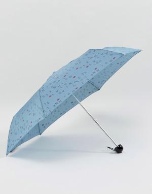 Lulu Guinness Синий зонт Superslim 2 Letters. Цвет: синий