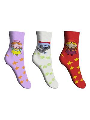 Носки 3 пары Master Socks. Цвет: сиреневый, красный, белый