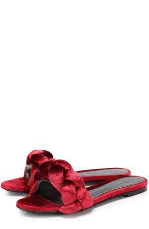 Текстильные шлепанцы с плетением Marco de Vincenzo. Цвет: красный