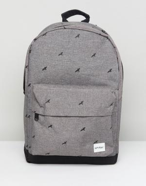 Spiral Темно-серый рюкзак с принтом. Цвет: серый