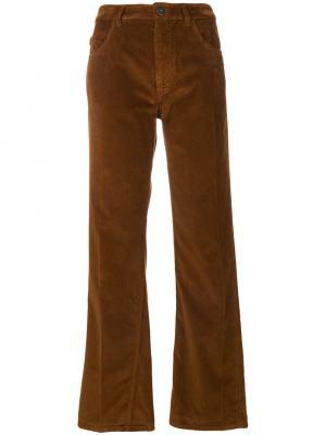 Вельветовые брюки с высокой талией Prada. Цвет: коричневый