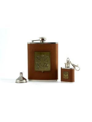 Подарочный набор Герб России: фляжка 230мл, брелок-фляжка, нож складной, воронка Русские подарки. Цвет: бронзовый, рыжий