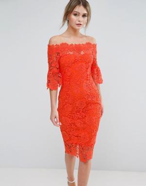 Paper Dolls Платье кроше с открытыми плечами и рюшами на рукавах. Цвет: оранжевый
