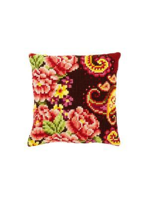 Набор для вышивания лицевой стороны наволочки Цветы с завитками III 40*40см Vervaco. Цвет: красный, бордовый, зеленый, розовый