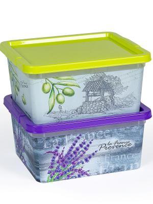 Комплект из 2х коробок Прованс объемом 1,9 л Полимербыт. Цвет: оливковый, сиреневый