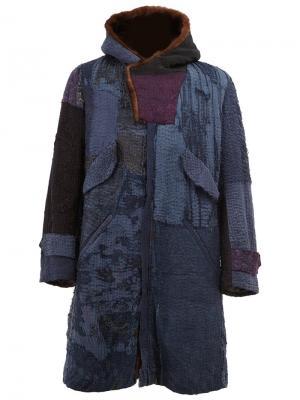 Пальто с капюшоном и вышивкой By Walid. Цвет: синий
