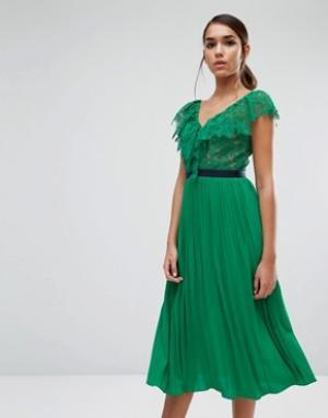 Three Floor Платье миди с плиссированной юбкой и рюшами. Цвет: зеленый