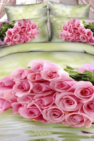 Постельное белье ЕВРО-4нав Buenas Noches. Цвет: зеленый, розовый