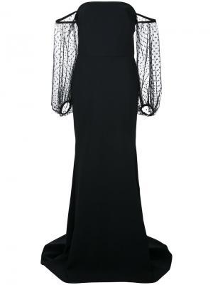 Платье в пол с прозрачными рукавами Greta Constantine. Цвет: чёрный