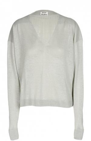 Пуловер свободного кроя с фактурной отделкой Acne Studios. Цвет: серый