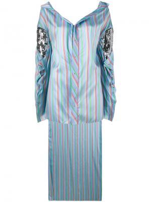 Асимметричная рубашка в полоску Esteban Cortazar. Цвет: синий