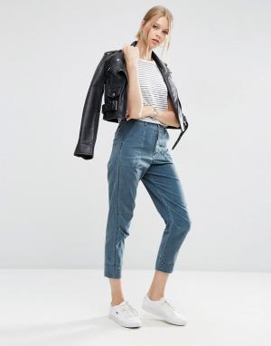 ASOS Выбеленные брюки-галифе. Цвет: синий