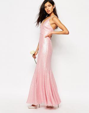 Fame and Partners Платье макси с пайетками Shimmer Soul. Цвет: розовый