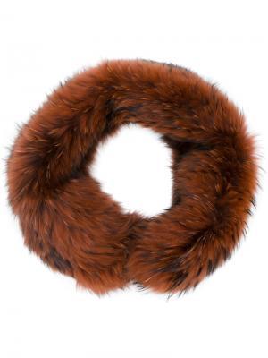 Шарф из лисьего меха Plein Sud. Цвет: коричневый