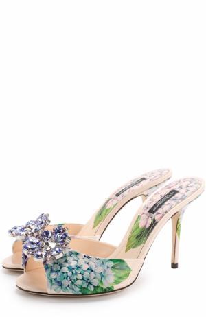 Кожаные мюли Bellucci с брошью Dolce & Gabbana. Цвет: разноцветный