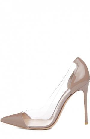 Лаковые туфли Plexi на шпильке Gianvito Rossi. Цвет: бежево-серый