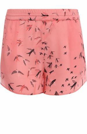 Шелковые мини-шорты с принтом Valentino. Цвет: розовый