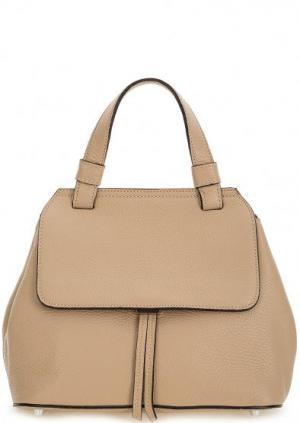 Кожаная сумка со съемным плечевым ремнем Abro. Цвет: бежевый