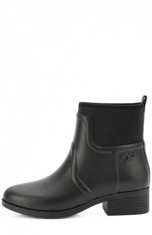 Резиновые сапоги на низком каблуке Tory Burch. Цвет: черный