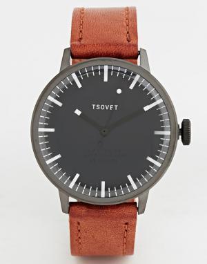 Tsovet Часы с коричневым кожаным ремешком. Цвет: рыжий