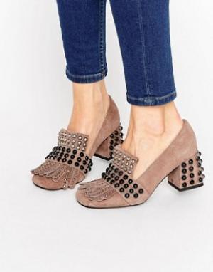 Jeffrey Campbell Замшевые туфли на каблуке с отделкой Bernice Kiltie. Цвет: бежевый