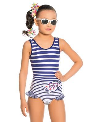 Купальник для девочек слитный Arina. Цвет: синий,белый