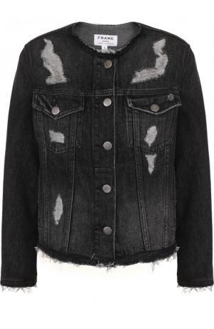 Джинсовая куртка с потертостями и круглым вырезом Frame Denim. Цвет: серый