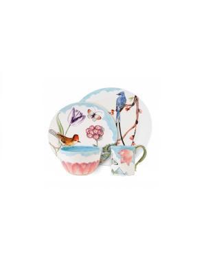 Набор 4 предмета Флоранс Elff Ceramics. Цвет: белый, голубой, сиреневый
