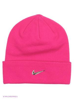 Шапка Y NK BEANIE METAL SWOOSH Nike. Цвет: розовый