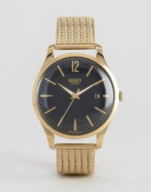 Henry London Золотистые часы с сетчатым ремешком Westminster. Цвет: золотой