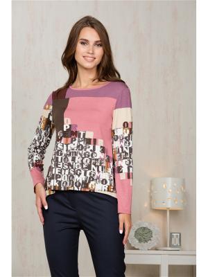 Блузка KEY FASHION. Цвет: розовый, белый, коричневый