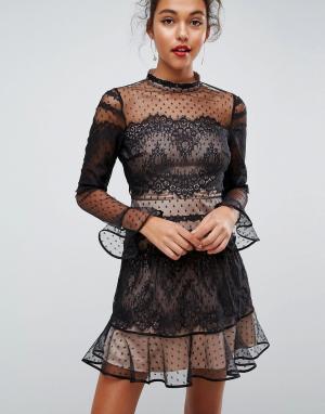ASOS Кружевное платье мини с длинными рукавами. Цвет: черный