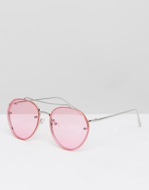 ASOS Солнцезащитные очки-авиаторы в серебристой оправе с розовыми стеклами. Цвет: розовый
