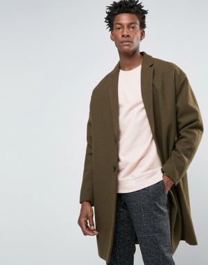 ASOS Полушерстяное пальто болотного цвета. Цвет: зеленый