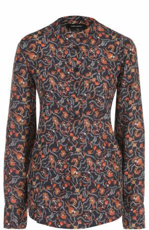 Шелковая блуза с воротником-стойкой и цветочным принтом Isabel Marant. Цвет: разноцветный