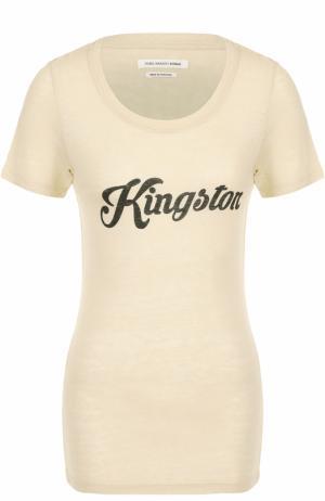 Шелковая приталенная футболка с надписью Isabel Marant Etoile. Цвет: кремовый