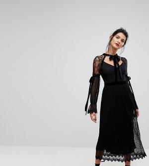 TFNC Кружевное платье миди с длинными рукавами, плиссировкой и бархатными з. Цвет: черный
