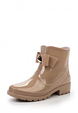 Резиновые полусапоги Sweet Shoes. Цвет: бежевый